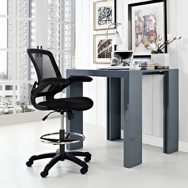 Veer Black Plastic Drafting Chair by Modway