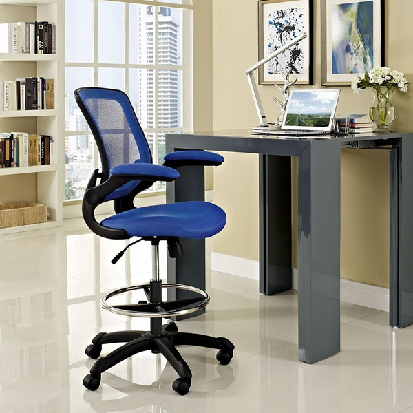 Veer Blue Plastic Drafting Chair by Modway