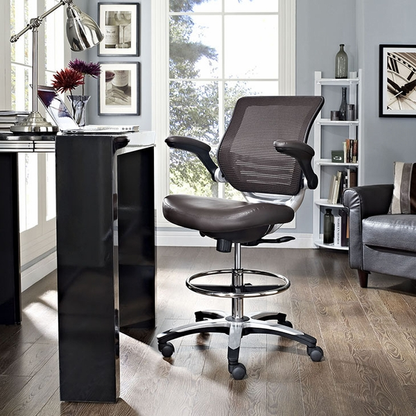 Edge Brown Drafting Chair by Modway