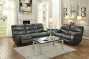 Pecos Gray Leather Gel Match Power Recliner Loveseat by Homelegance
