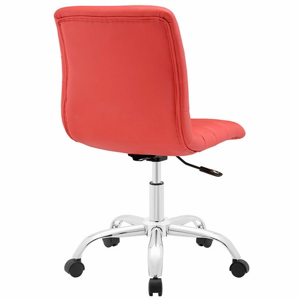 Ripple Red Vinyl/Chrome Armless Mid Back Office Chair by Modway