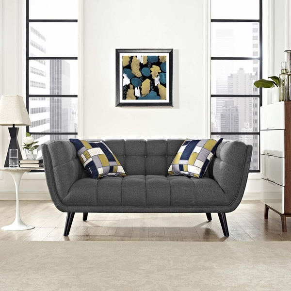 Bestow Gray Soft Fabric Loveseat by Modway