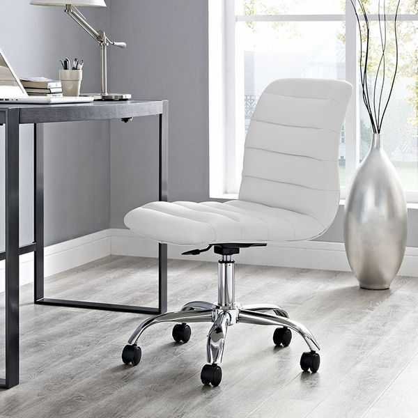 Ripple White Vinyl/Chrome Armless Mid Back Office Chair by Modway