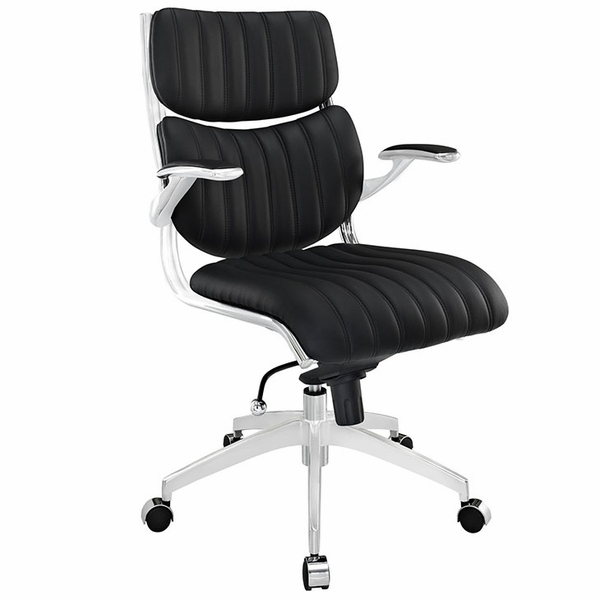 Escape Black Leatherette/Chrome Mid Back Office Chair by Modway