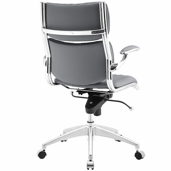 Escape Gray Leatherette/Chrome Mid Back Office Chair by Modway