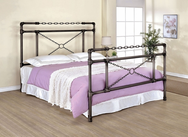Anastasia Brushed Silver Metal Cal King Bed by Furniture of America