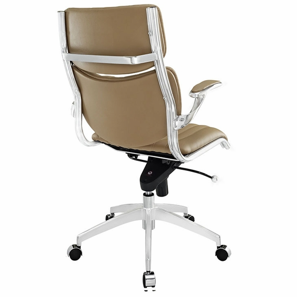 Escape Tan Leatherette/Chrome Mid Back Office Chair by Modway