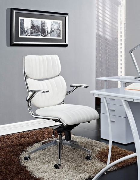 Escape White Leatherette/Chrome Mid Back Office Chair by Modway