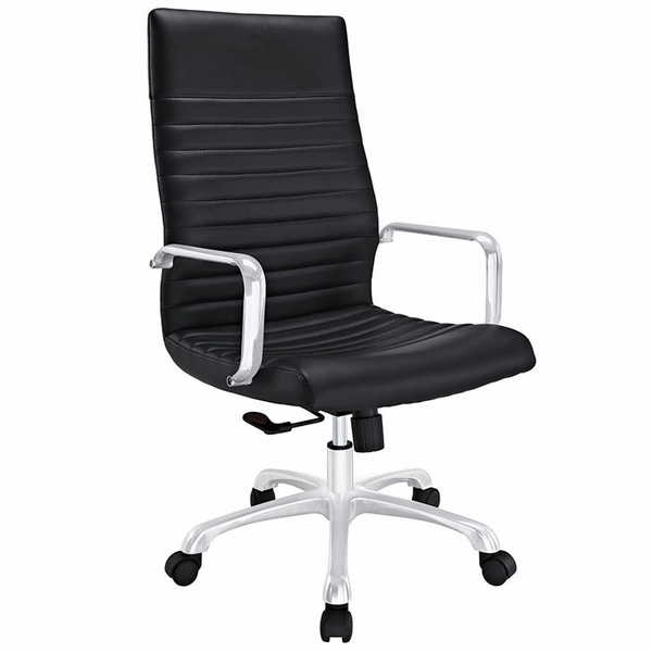 Finesse Black Ribbed Vinyl/Aluminum Highback Office Chair by Modway