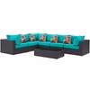 Convene 7-Pc Expresso Turquoise Outdoor Patio Sectional Set by Modway