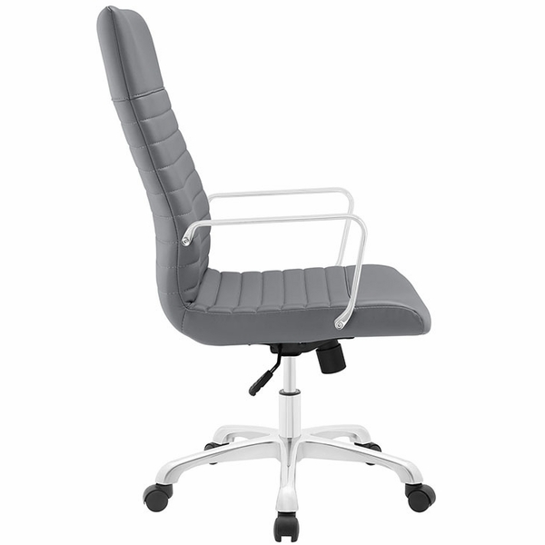 Finesse Gray Ribbed Vinyl/Aluminum Highback Office Chair by Modway