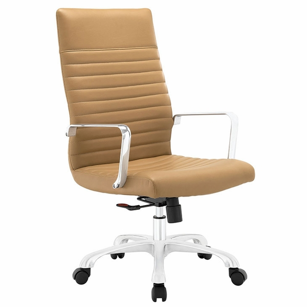 Finesse Tan Ribbed Vinyl/Aluminum Highback Office Chair by Modway
