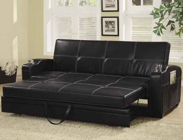 Catarina Contemporary Black Faux Leather Sofa Bed by Coaster