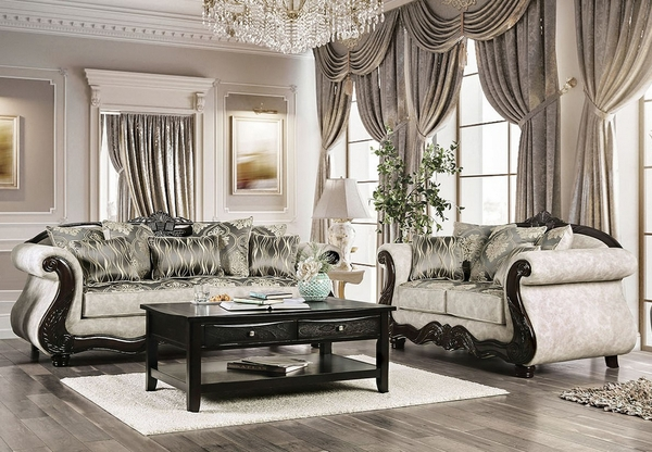Clarice Beige/Silver Chenille Loveseat by Furniture of America