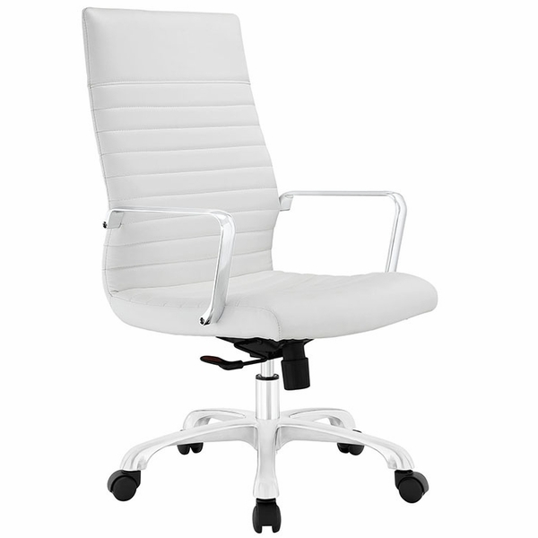 Finesse White Ribbed Vinyl/Aluminum Highback Office Chair by Modway