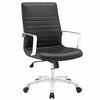 Finesse Black Padded Vinyl/Metal Mid Back Office Chair by Modway