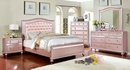 Ariston Rose Gold Leatherette/Wood Queen Bed by Furniture of America