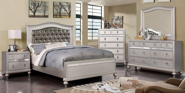 Ariston Silver Leatherette/Wood Queen Bed by Furniture of America
