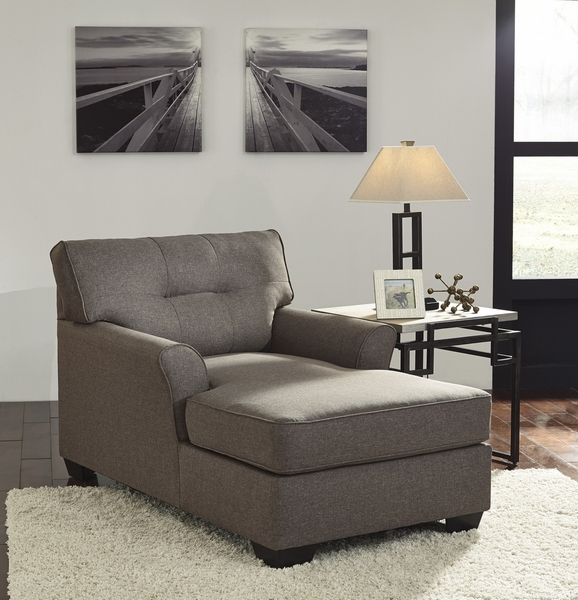 Signature Design Tibbee Slate Fabric Chaise by Ashley