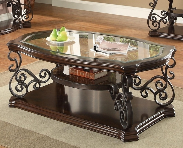 Calogera Clear Glass/Deep Merlot Wood Coffee Table by Coaster