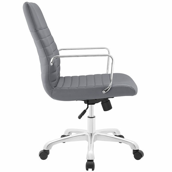 Finesse Gray Padded Vinyl/Metal Mid Back Office Chair by Modway