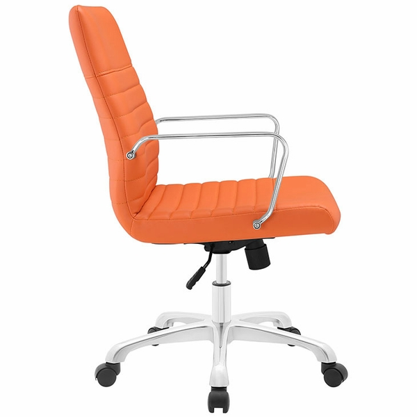 Finesse Orange Padded Vinyl/Metal Mid Back Office Chair by Modway
