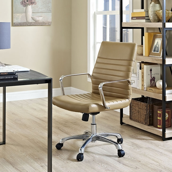 Finesse Tan Padded Vinyl/Metal Mid Back Office Chair by Modway