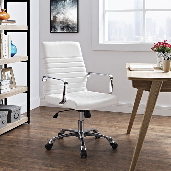 Finesse White Padded Vinyl/Metal Mid Back Office Chair by Modway