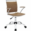 Fuse Tan Leather/Chrome Office Chair by Modway