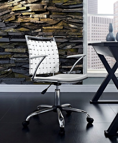 Fuse White Leather/Chrome Office Chair by Modway
