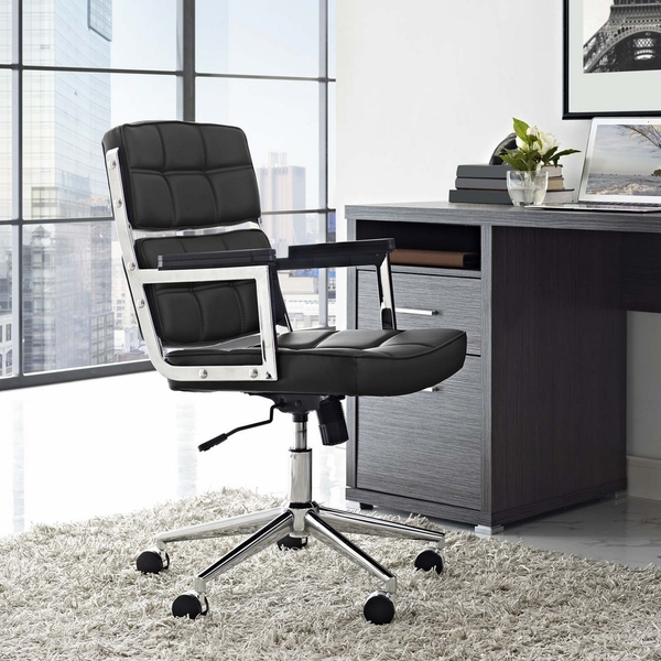 Portray Black Vinyl/Chrome Steel Highback Office Chair by Modway