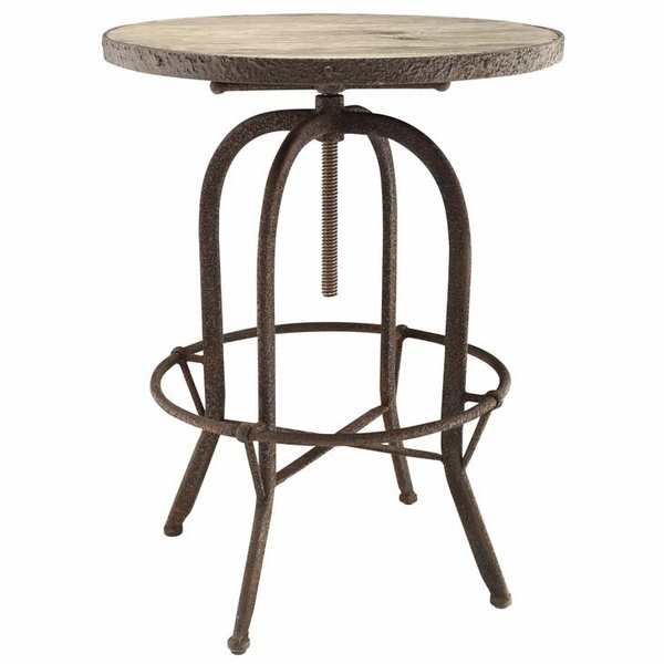 Sylvan Brown Metal/Wood Round Bar Table by Modway