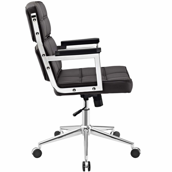 Portray Brown Vinyl/Chrome Steel Highback Office Chair by Modway