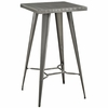 Direct Gray/Silver Metal Square Bar Table by Modway