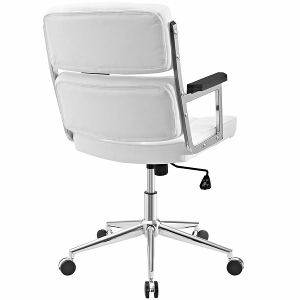 Portray White Vinyl/Chrome Steel Highback Office Chair by Modway