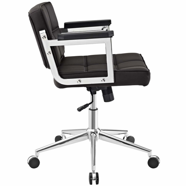 Portray Brown Vinyl/Chrome Steel Mid Back Office Chair by Modway