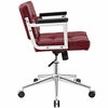 Portray Red Vinyl/Chrome Steel Mid Back Office Chair by Modway