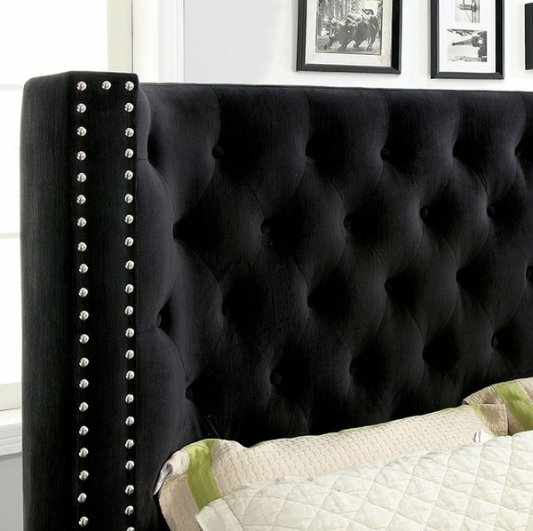 Cayla Black Fabric King Bed (Oversized) by Furniture of America