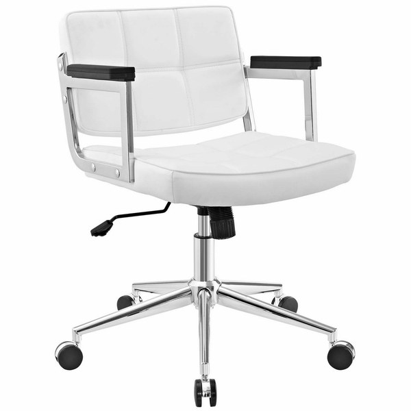 Portray White Vinyl/Chrome Steel Mid Back Office Chair by Modway