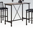 Caitlin Rustic Oak Wood/Black Metal Rectangular Bar Table by Acme