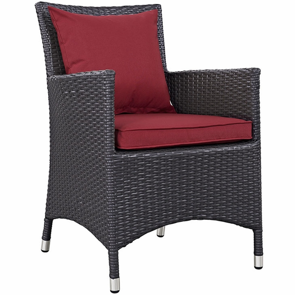 Convene 2 Espresso/Red Outdoor Patio Dining Arm Chairs by Modway