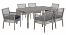 Aura 7-Pc Gray Rattan/Navy Fabric Outdoor Patio Dining Set by Modway