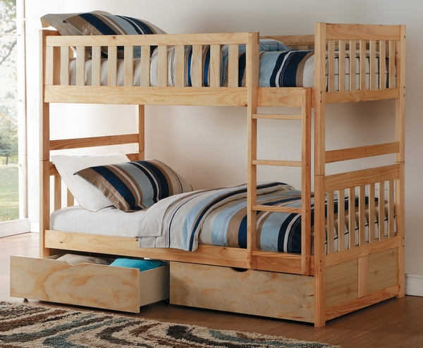 Bartly Natural Wood Full Bunk Bed with Underbed Storage by Homelegance
