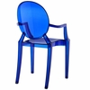 Casper 4 Blue Plastic Dining Arm Chairs by Modway