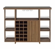 Cristian Modern Walnut Wood Bar Unit with Glass Top by Coaster