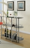 Fortunata Black Glass/Chrome Metal Bar Stand by Poundex