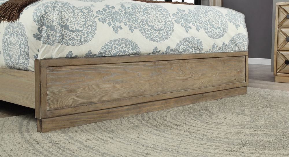 Markos Weathered Light Oak Wood Queen Bed by Furniture of ...