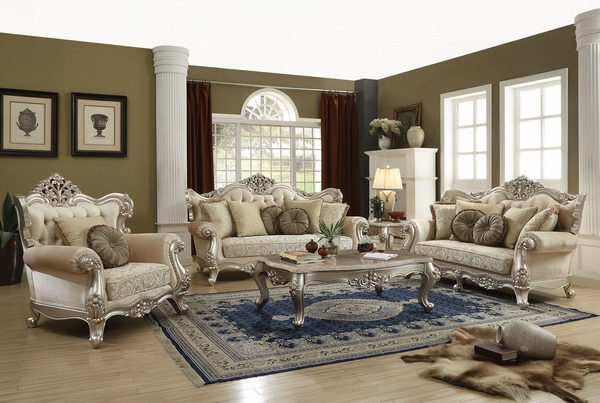 Bently Light Gold Fabric Wingback Style Sofa (Oversized) by Acme