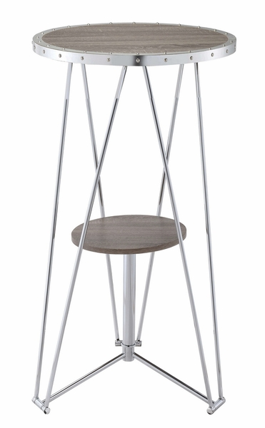 Jarvis Gray Oak Wood/Chrome Metal Round Bar Table by Acme