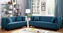Sofia Dark Teal Fabric/Wood Sofa by Furniture of America